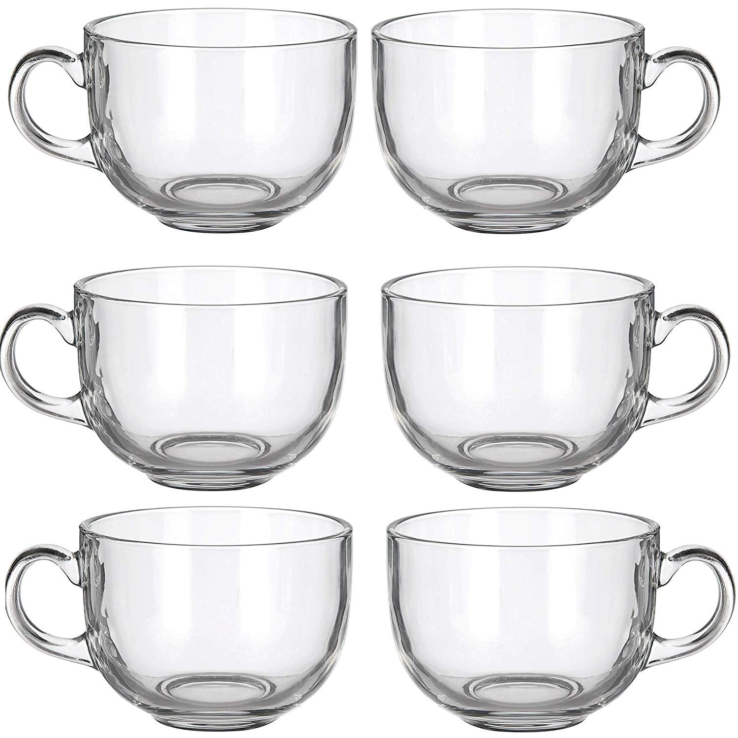 6 Pack Multipurpose Gourmet Coffee Tea Mugs 480 Ml Thick Clear Glass With Handle For Perfect Espresso Cappuccino Or Latte Walmart Com Walmart Com