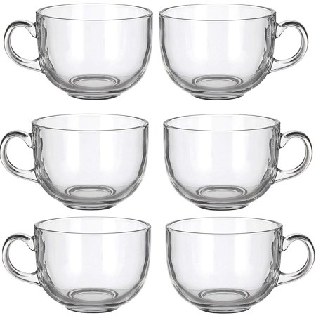 6 Pack Multipurpose Gourmet Coffee Tea Mugs 480 ML-Thick Clear Glass With Handle For Perfect Espresso Cappuccino or Latte - Clear Glass Coffee Mugs