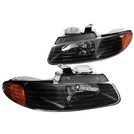 Spec-D Tuning 1996-2000 Dodge Caravan Chrysler Town & Country Black Euro Headlight + Amber Reflector 96 97 98 99 00 (Left + Right)