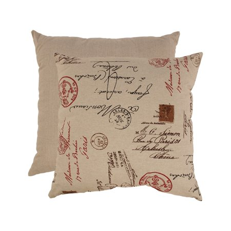 Eco-Friendly French Postale Red and Tan Linen Polyester Floor Pillow 23