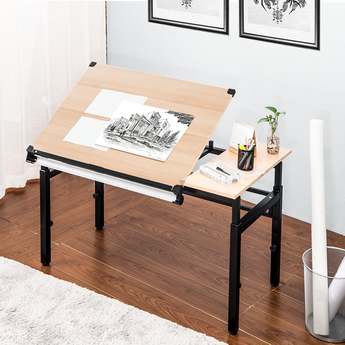 Harper&Bright Designs Drafting and Hobby Table Drawing Desk with Folding Top and Adjustable legs (Oak)
