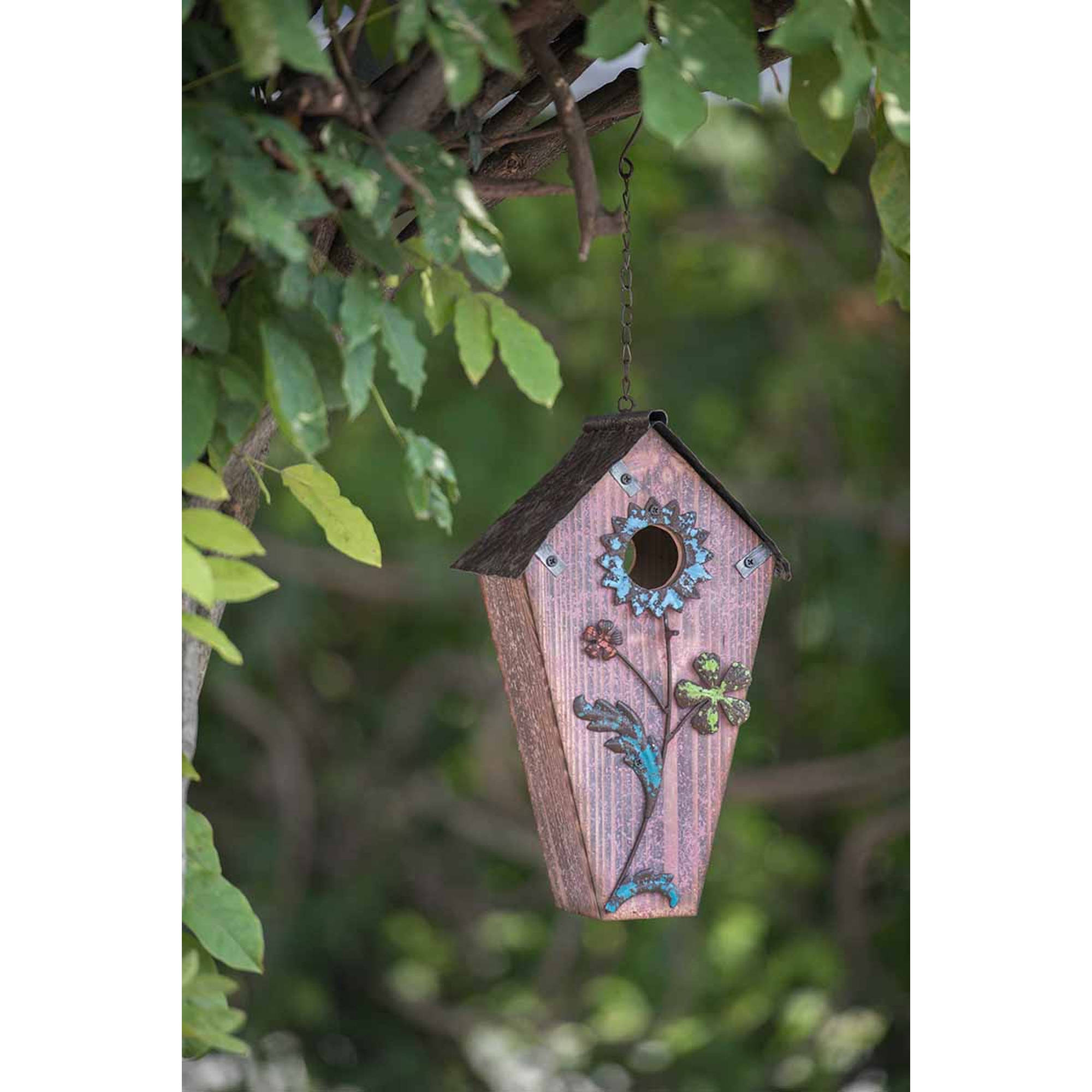 "Sunjoy 110308002 Hand-Painted Wood Flower Birdhouse, Dusty Rose, 23"" by SunNest Services LLC"