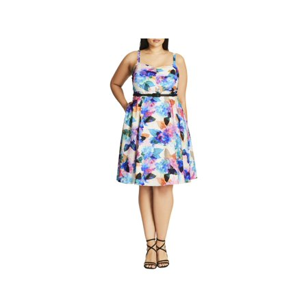 City Chic Womens Plus Floral Print Knee-Length Party Dress - Party C Ity