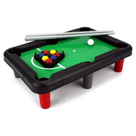 Toy Mini Billiard Pool Table w/ Table, Full Set of Balls, 2 Cues, Triangle. Fun Game For
