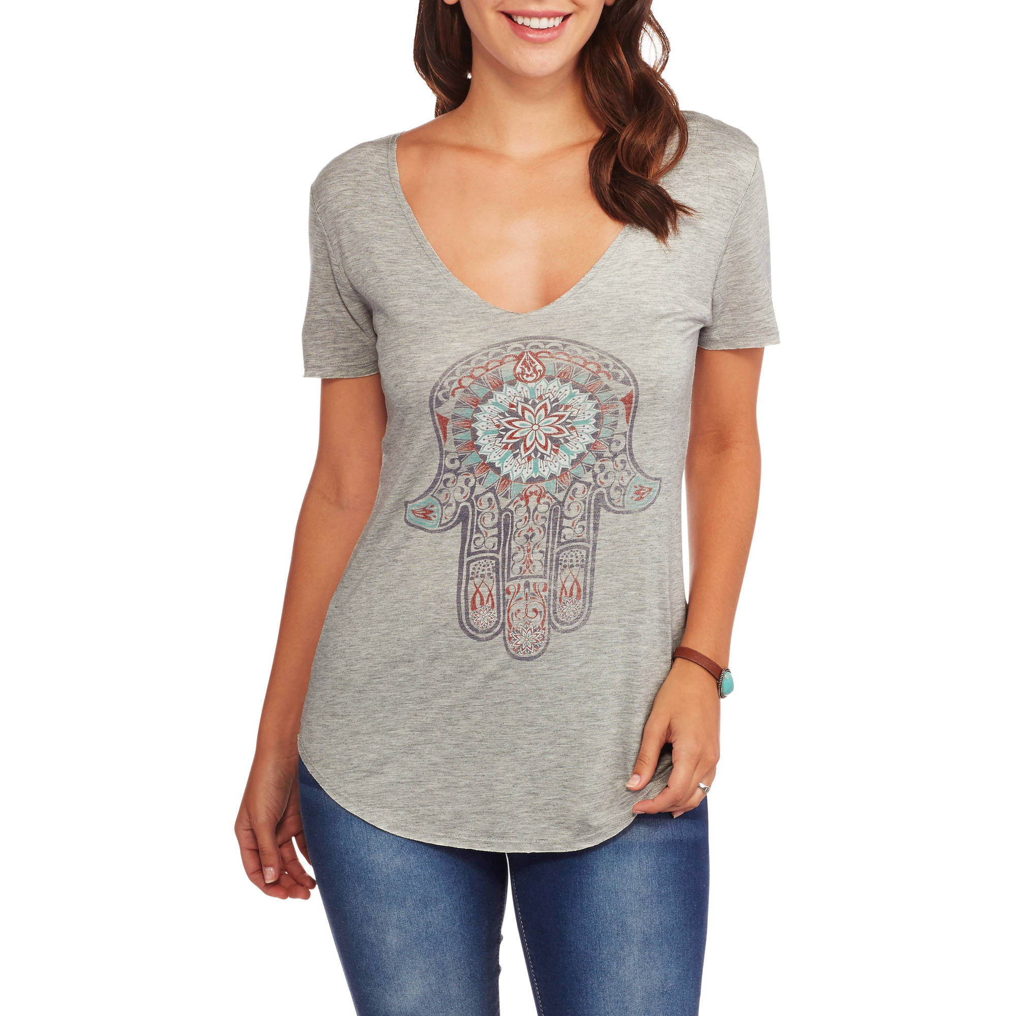 Project Karma Women's Relaxed Fit Vneck Graphic T-Shirt