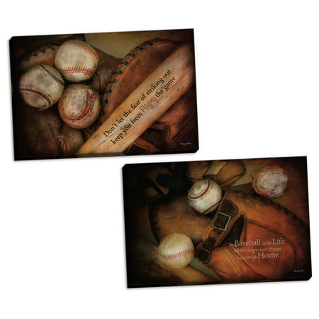 Gango Home Decor Contemporary Play Ball & Baseball by Robin-Lee Vieira (Ready to Hang); Two 18x12in Hand-Stretched