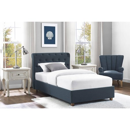 Dhp Carmela Linen Upholstered Platform Bed Navy Twin