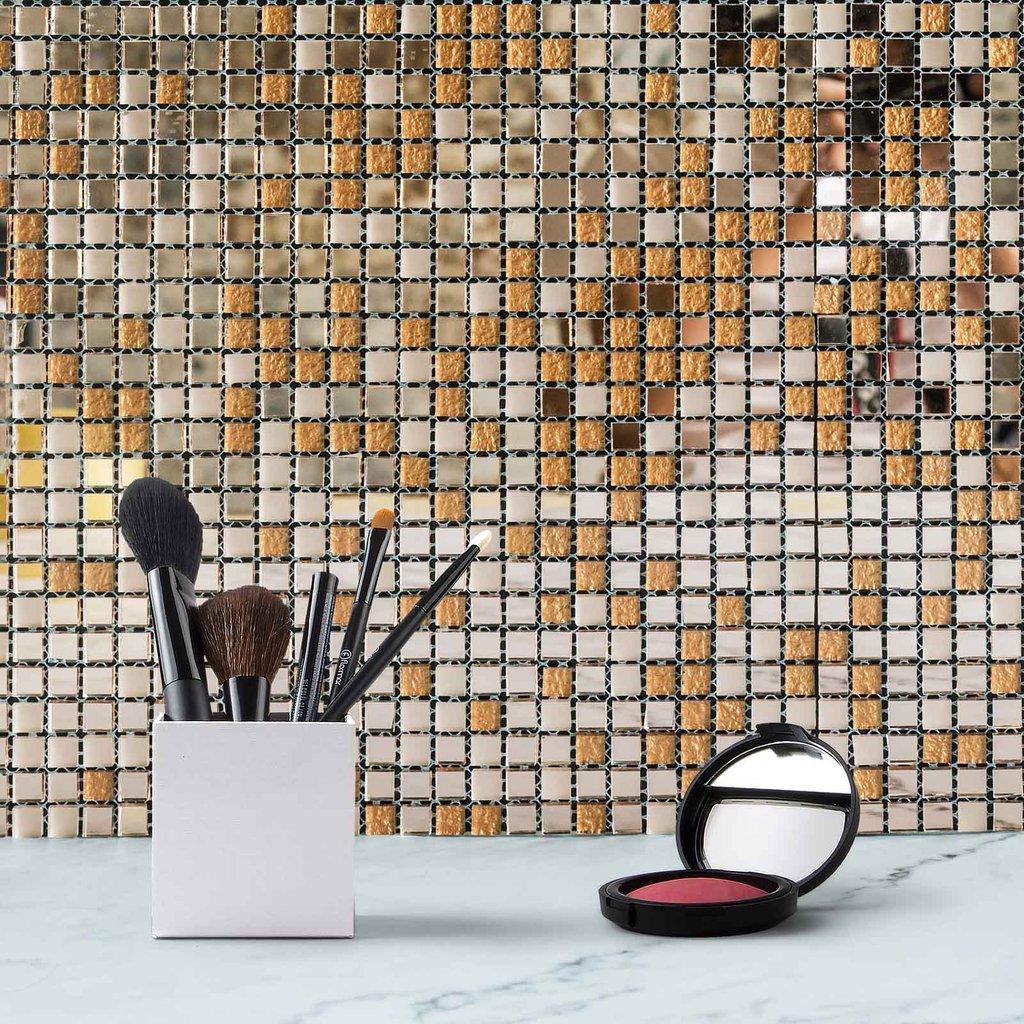 "Efavormart 10 Pack Self-adhesive Rose Backsplash Peel & Stick Colored Glass Mirror Mosiac Wall Tile - 12""x12"""