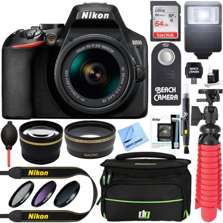 Nikon D3500 24.2MP DSLR Camera + AF-P DX 18-55mm VR NIKKOR Lens Kit + Accessory Bundle 64GB SDXC Memory + SLR Photo Bag + Wide Angle Lens + 2.2x Telephoto Lens + Flash+Tripod +Filters (Black)