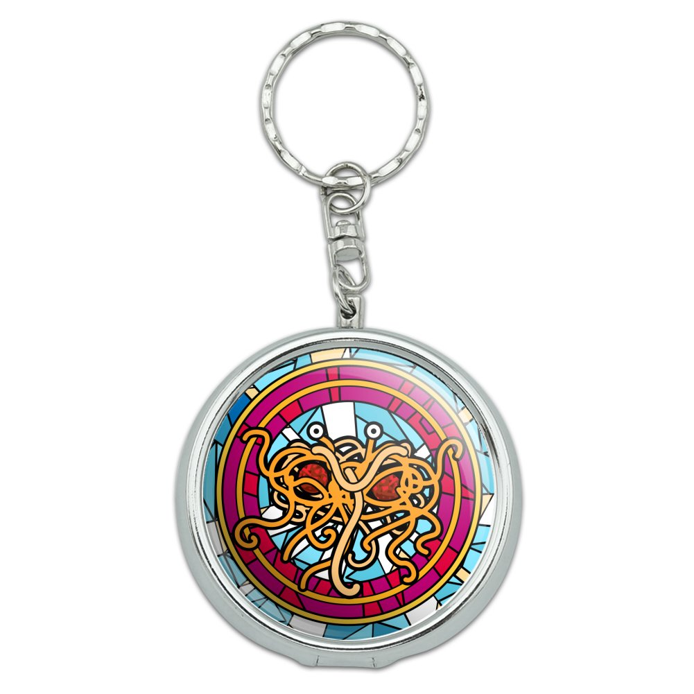 Flying Spaghetti Monster Stained Glass Portable Travel Size Pocket Purse Ashtray Keychain with Cigarette Holder