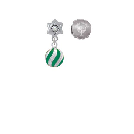Silvertone 3-D Green and Striped Ornament Happy Hanukkah Charm Beads (Set of 2)