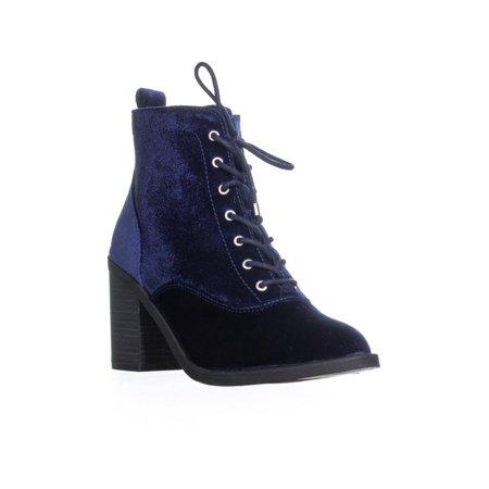 Womens MG35 Landrey2 Block Heel Zip Up Ankle Boots, Navy Block Heel Ankle Boots