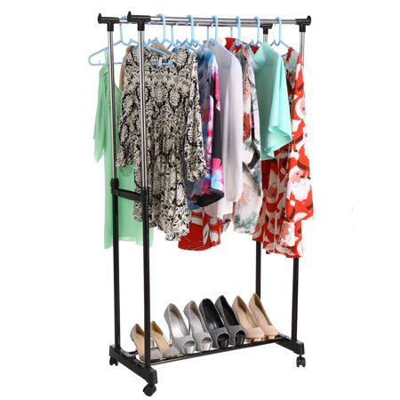 Adjustable 2 Rail Rolling Garment Rack Rolling Clothing Drying Rack Organizer Adjustable height 35.9-60.8 inch. Easy to setup and disassembly, for compact storage when not using it. Durable stainless steel frame and plastic joints.