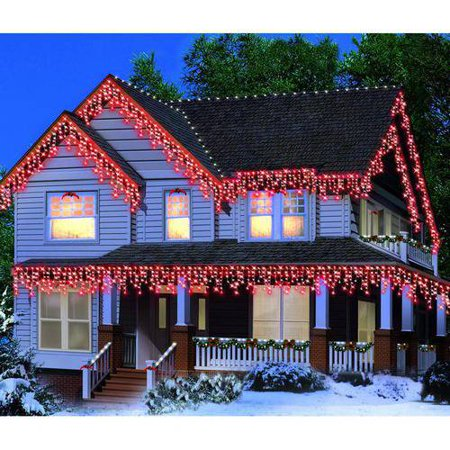 Holiday Time Icicle Light Set White Wire Red Bulbs, 300 ...