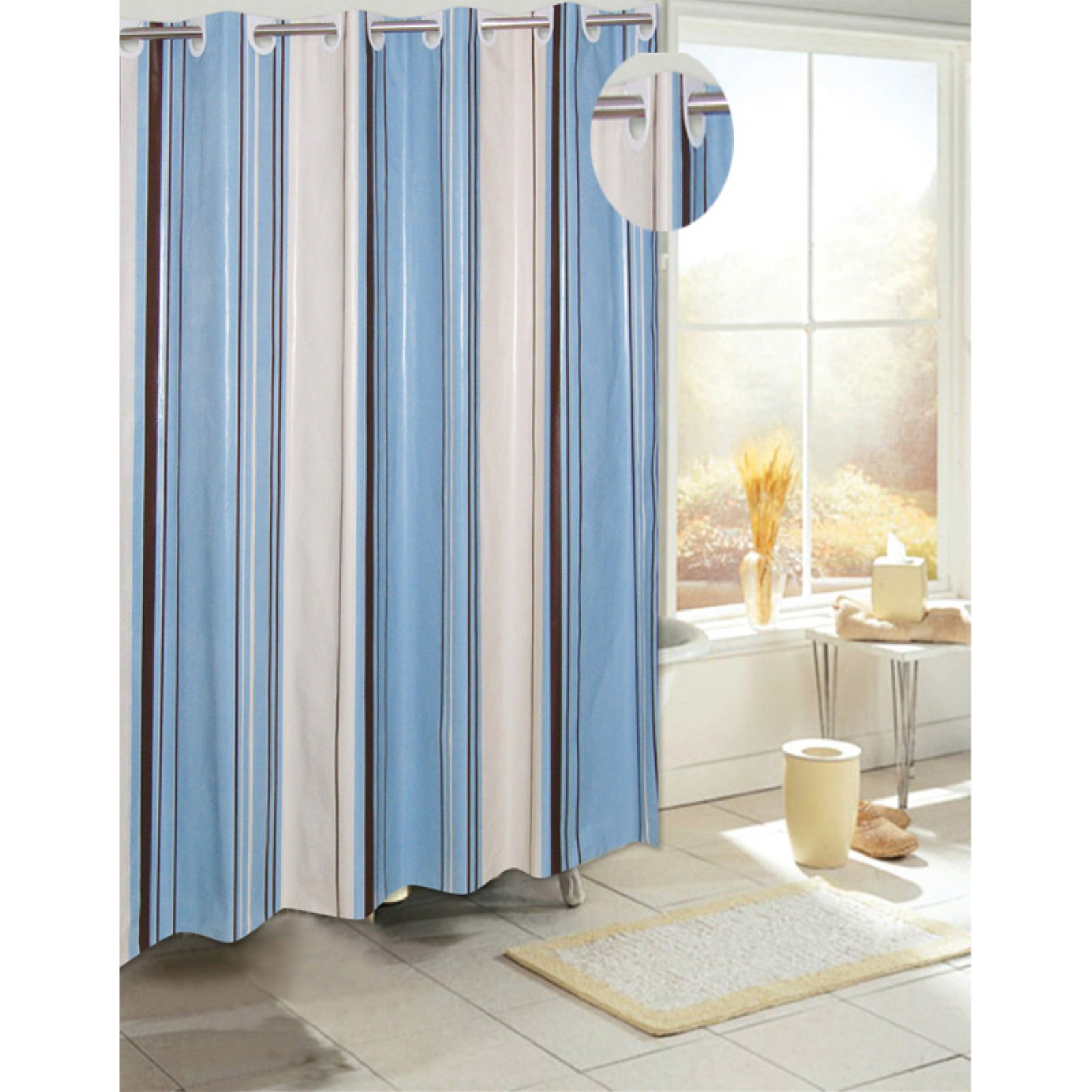 Carnation Home Fashions Ez On Grommet Style Stripe Eva Shower Curtain