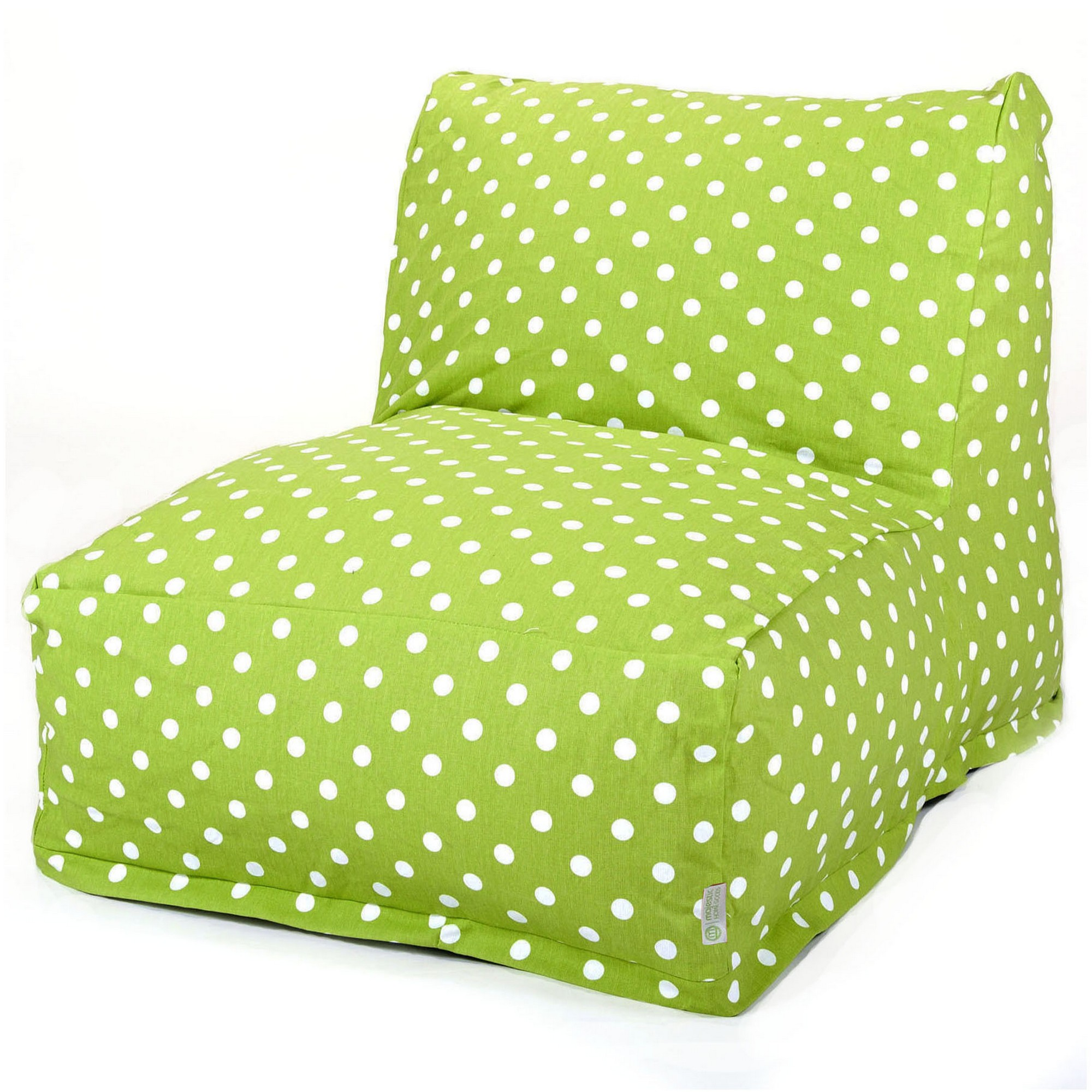 Majestic Home Goods Indoor Lime Small Polka Dot Chair Lounger Bean Bag 36 in L x 27 in W x 24 in H