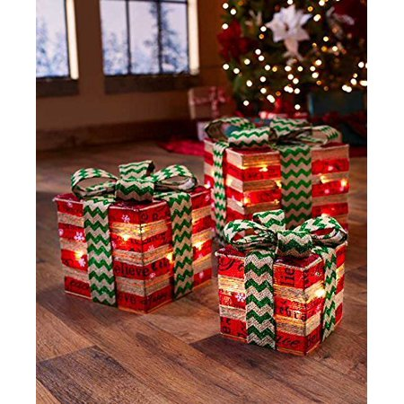 Lighted Gift Box Decor (Red & Green), Set of 3 Lighted Gift Box Decor under your tree. Each set gives you 3 identically decorated boxes in.., By The Lakeside Collection