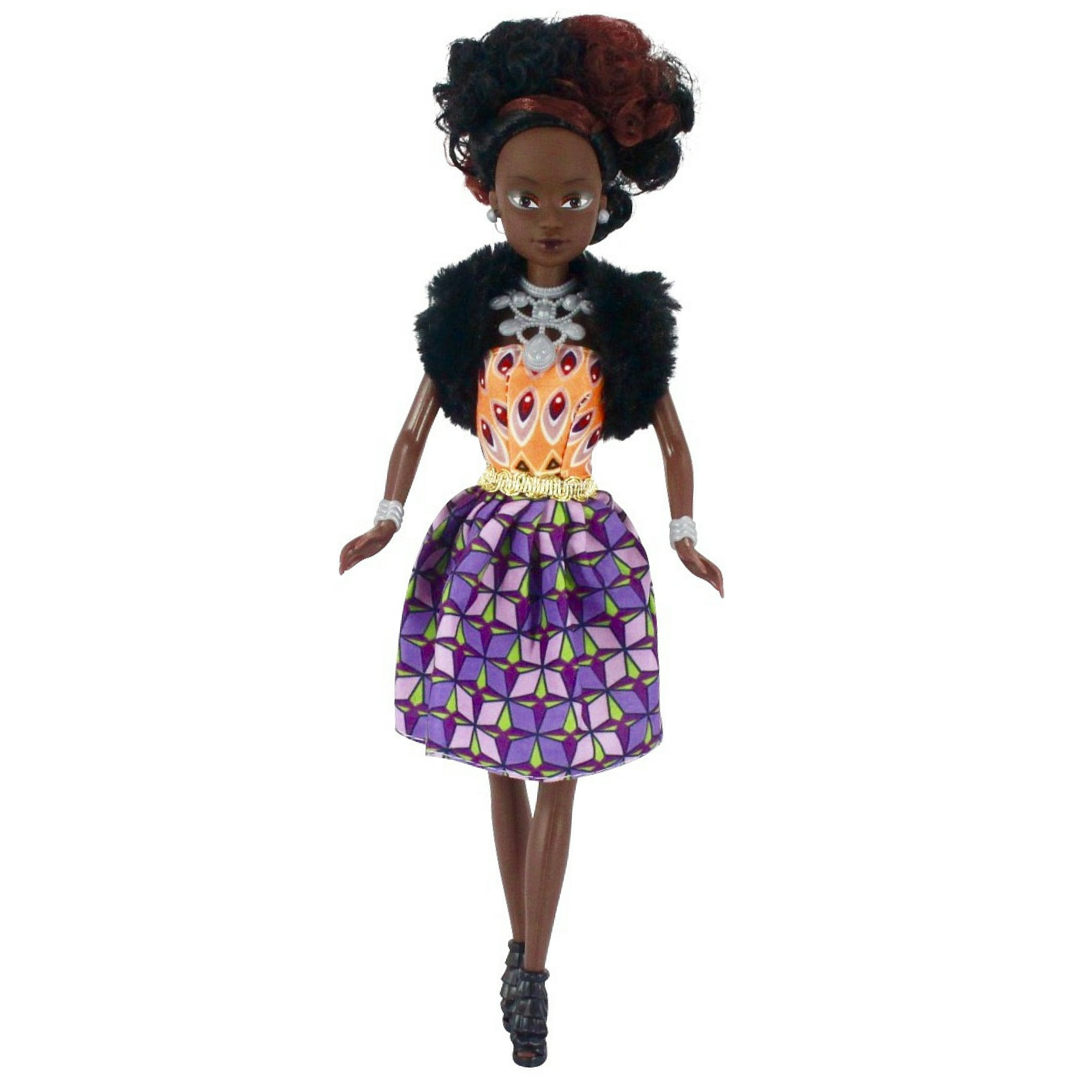 Fico Toys Ltd Queens Of Africa Black Doll  -  Azeezah (curly / natural