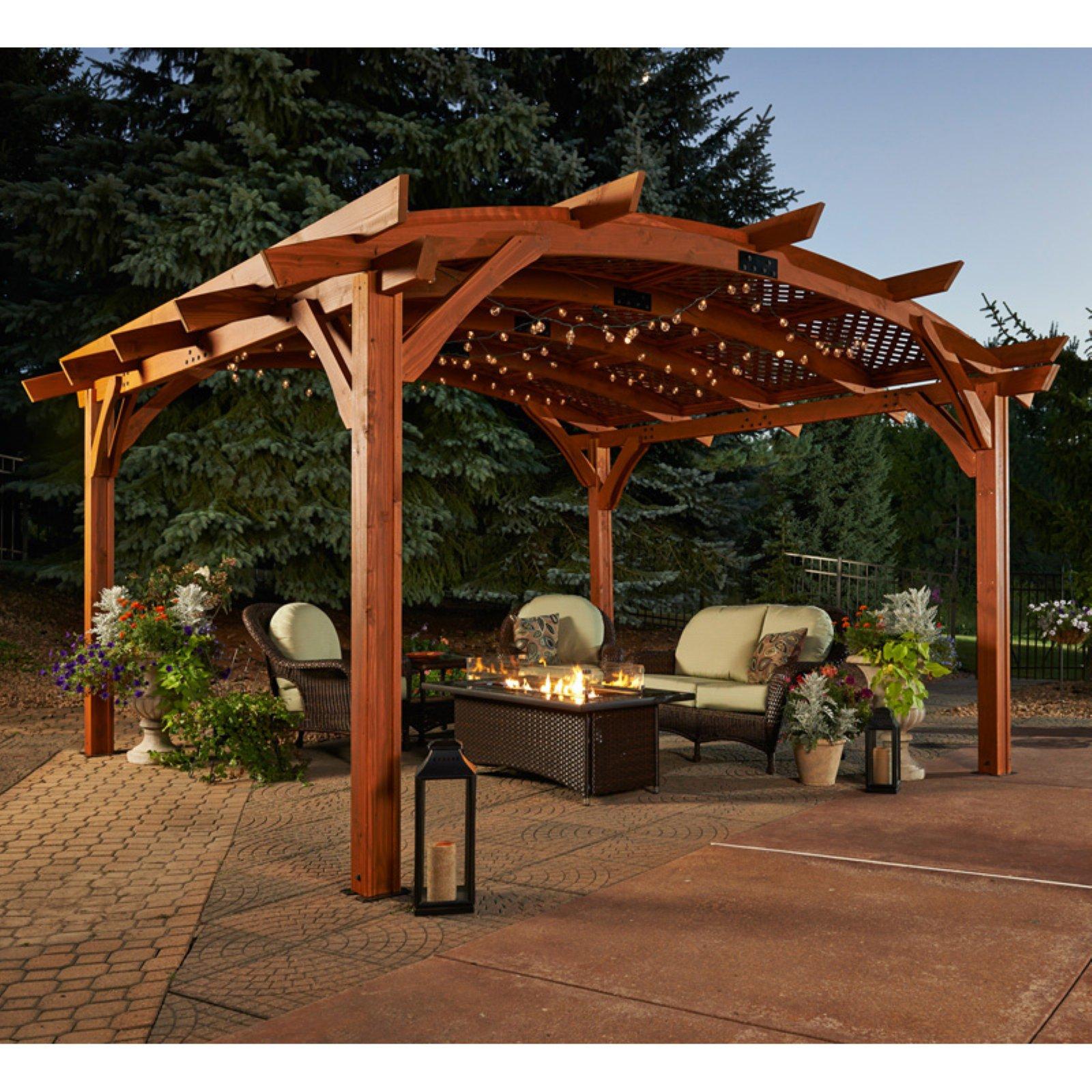 Sonoma 12 x 16 ft. Arched Wood Pergola - Redwood