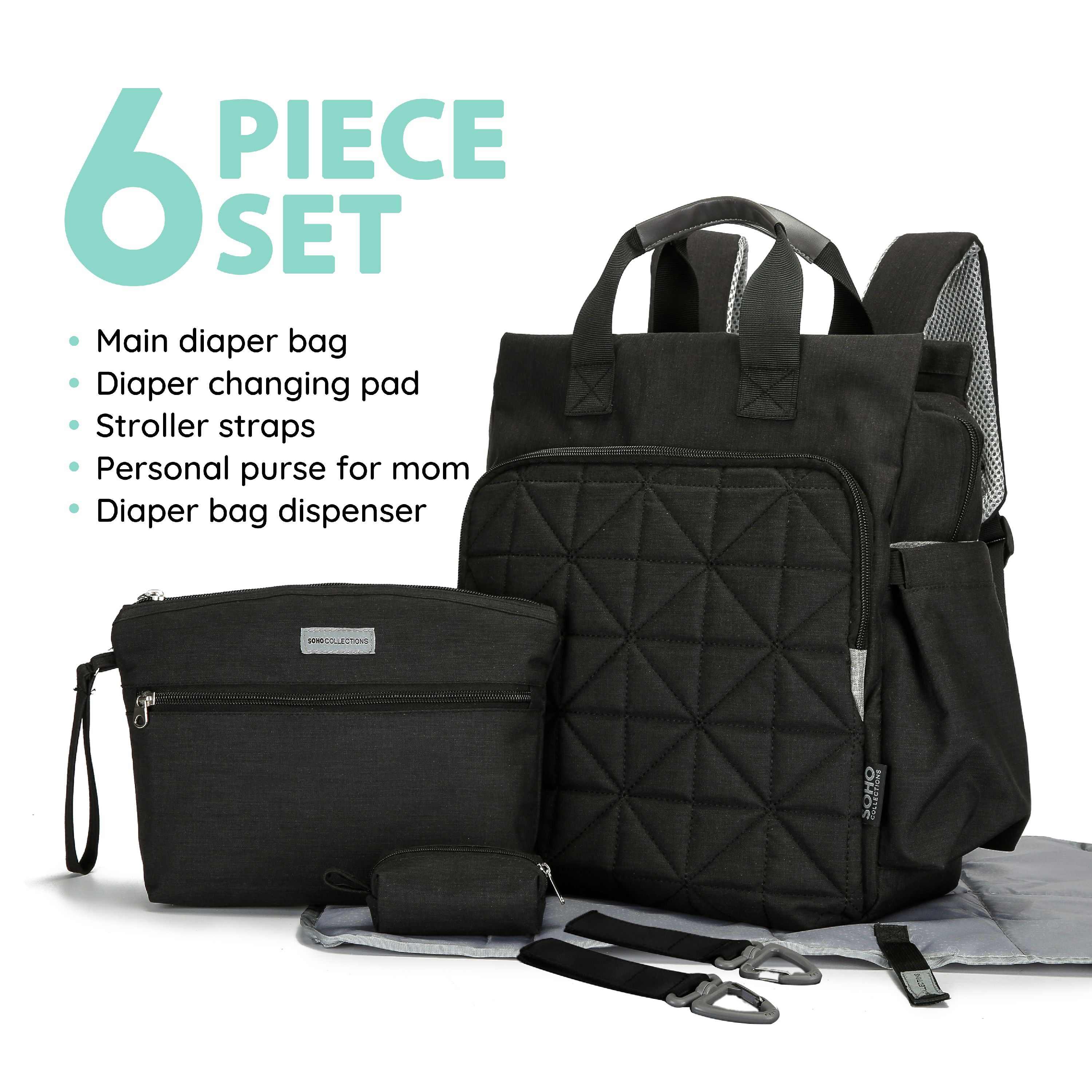 SoHo diaper bag backpack Kenneth 6 pcs nappy tote stylish bag for baby mom dad insulated unisex multifuncation large capacity durable includes changing pad stroller straps Black