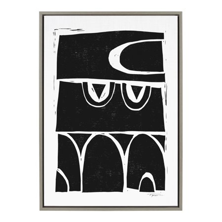 Kate and Laurel Sylvie Modern Structured Arches Framed Canvas By Statement Goods, 23x33 Gray, Black and White Modern Wall Decor For Living Room, Bedroom, or Dining Room ()