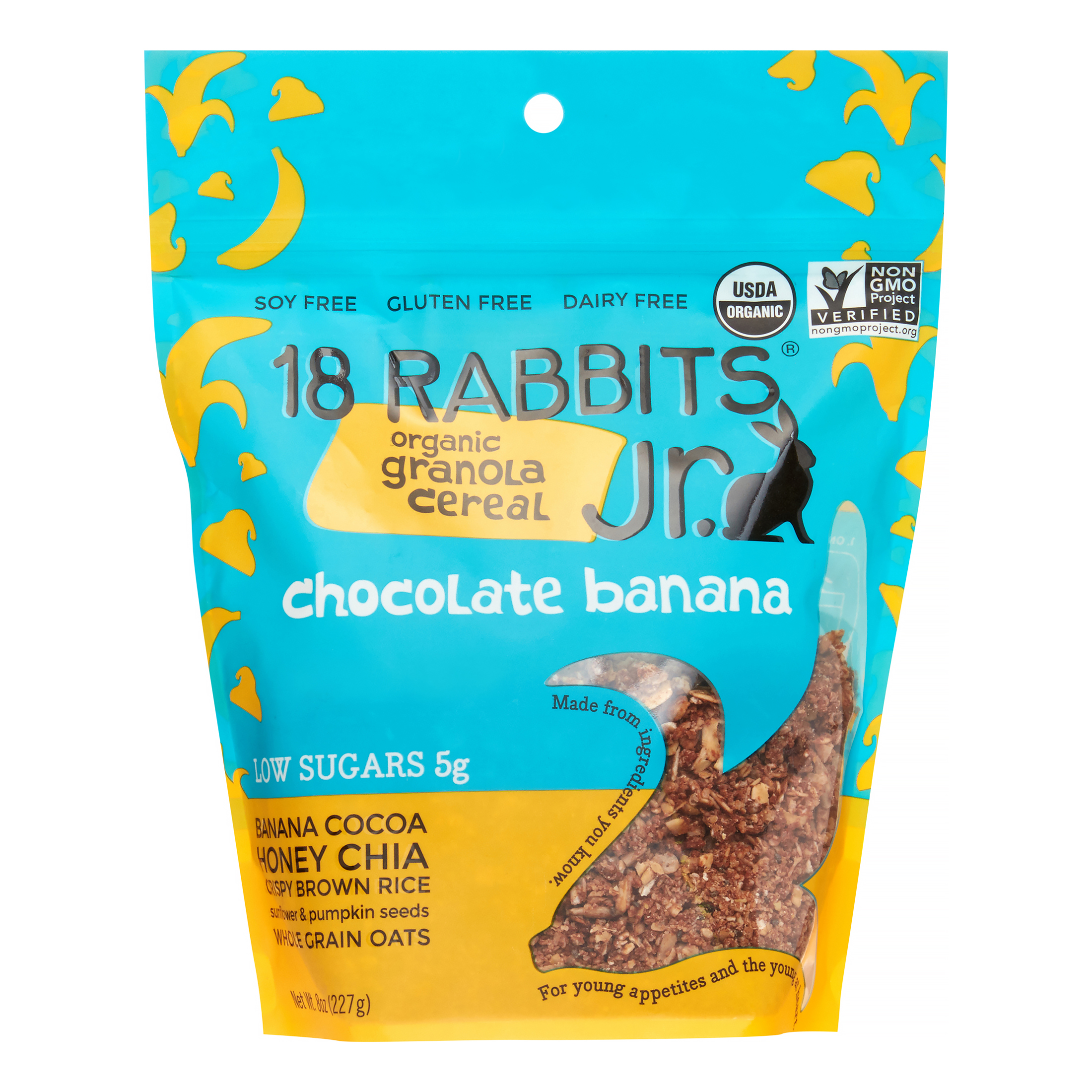 Image of 18 Rabbits Chocolate Banana Jr. Organic Granola Cereal, 8 Oz