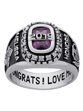 Personalized Women's Platinum Plated Celebrium CZ Encrusted Personalized Year Class Ring