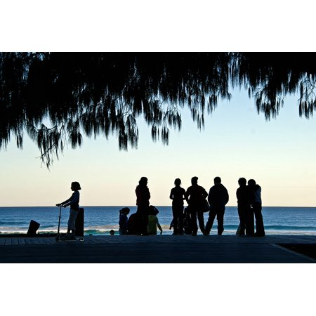LAMINATED POSTER People Coast Sea Ocean Group Tree Silhouettes Poster Print 24 x 36