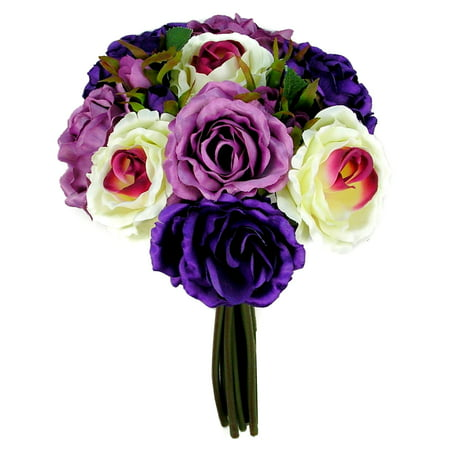 Admired By Nature 12 Stems Artificial Rose Bouquets, Violet/Lavender Mix