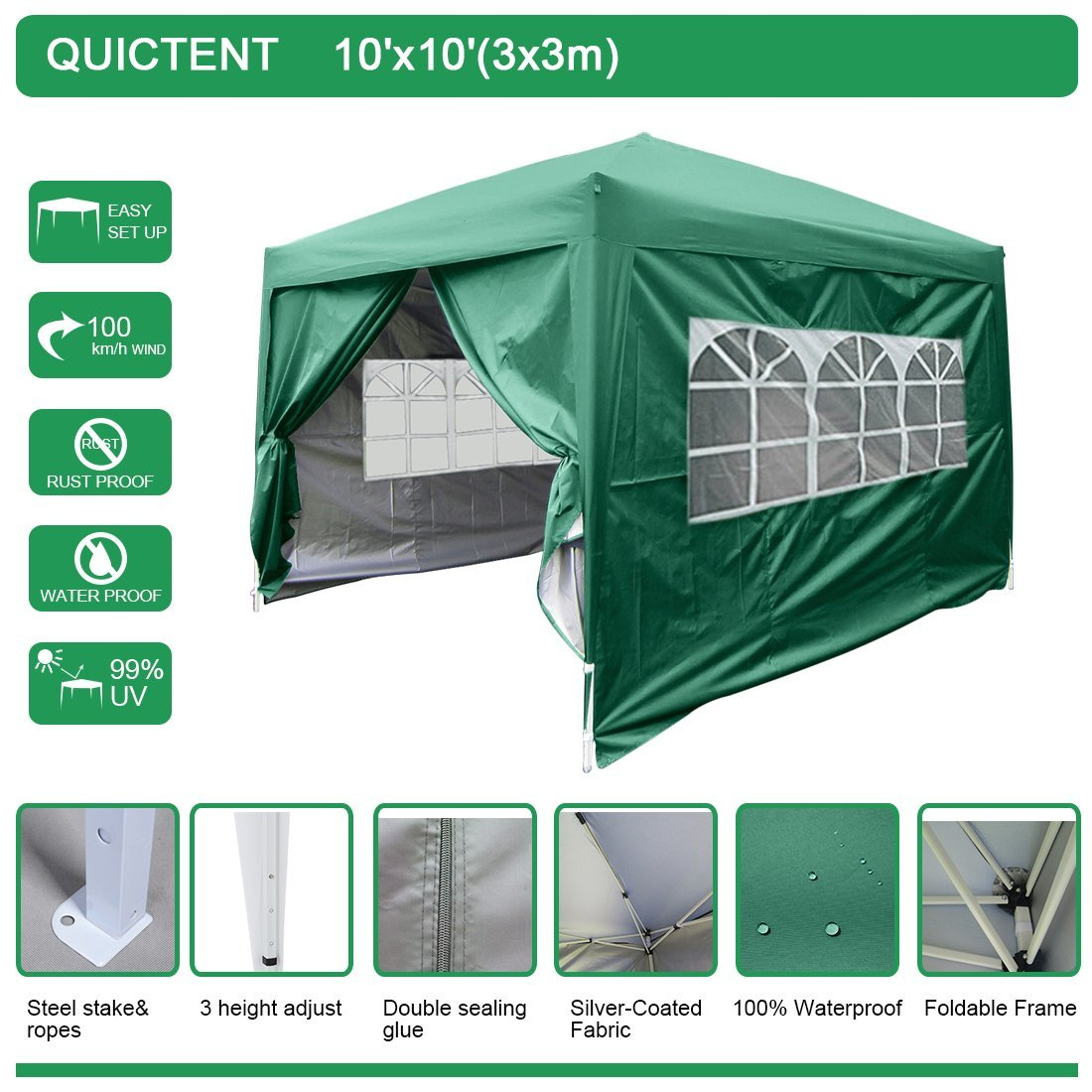 quictent 10x10 ez pop up canopy party tent commercial instant gazebos with 4 - Ez Up Canopy 10x10