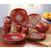 Better Homes and Gardens Medallion 16-Piece Square Dinnerware Set (Red)