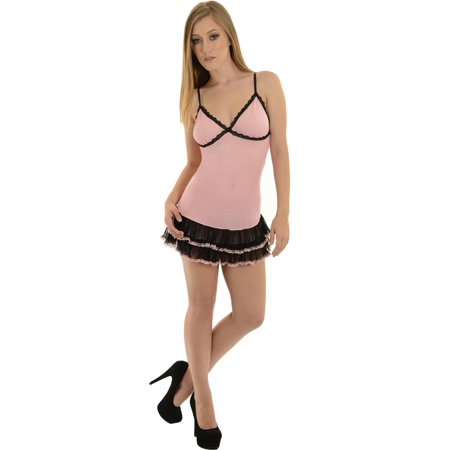 (Shirley Womens Pink Sheer Mesh Babydoll Lingerie g-String Panties 2 Piece Set)
