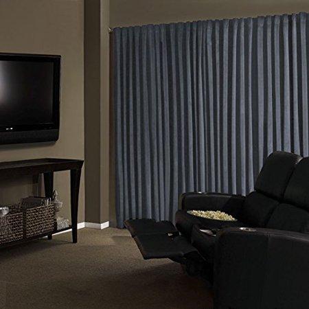 Total Blackout Stone Blue Faux Velvet Curtain Panel 95 In