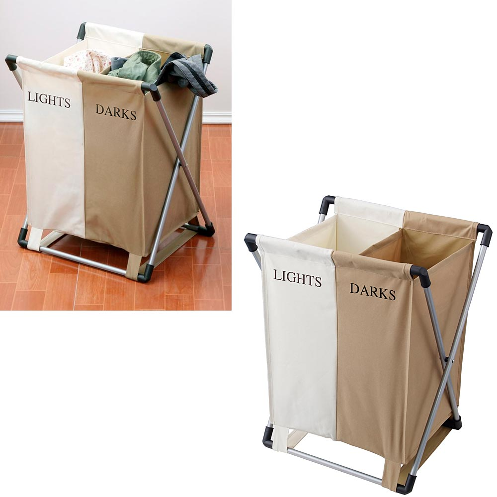 Double Laundry Bin Clothing Hamper Basket Bags 2 Compartments Light Dark Sorter
