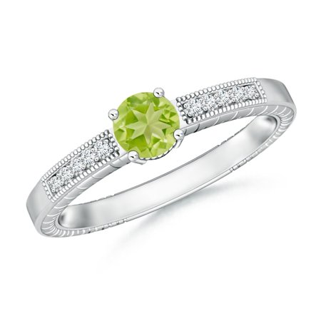 August Birthstone Ring - Round Peridot Solitaire Ring with Milgrain in Platinum (5mm Peridot) - SR0668PD-PT-AA-5-12