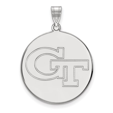Roy Rose Jewelry 14K White Gold Logoart Georgia Institute Of Technology Xl Disc Pendant