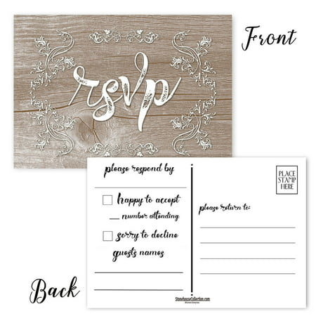 Rustic RSVP Postcards - 50 Reply Postcards - 4 x 6 Cards - Wedding, Showers, Parties