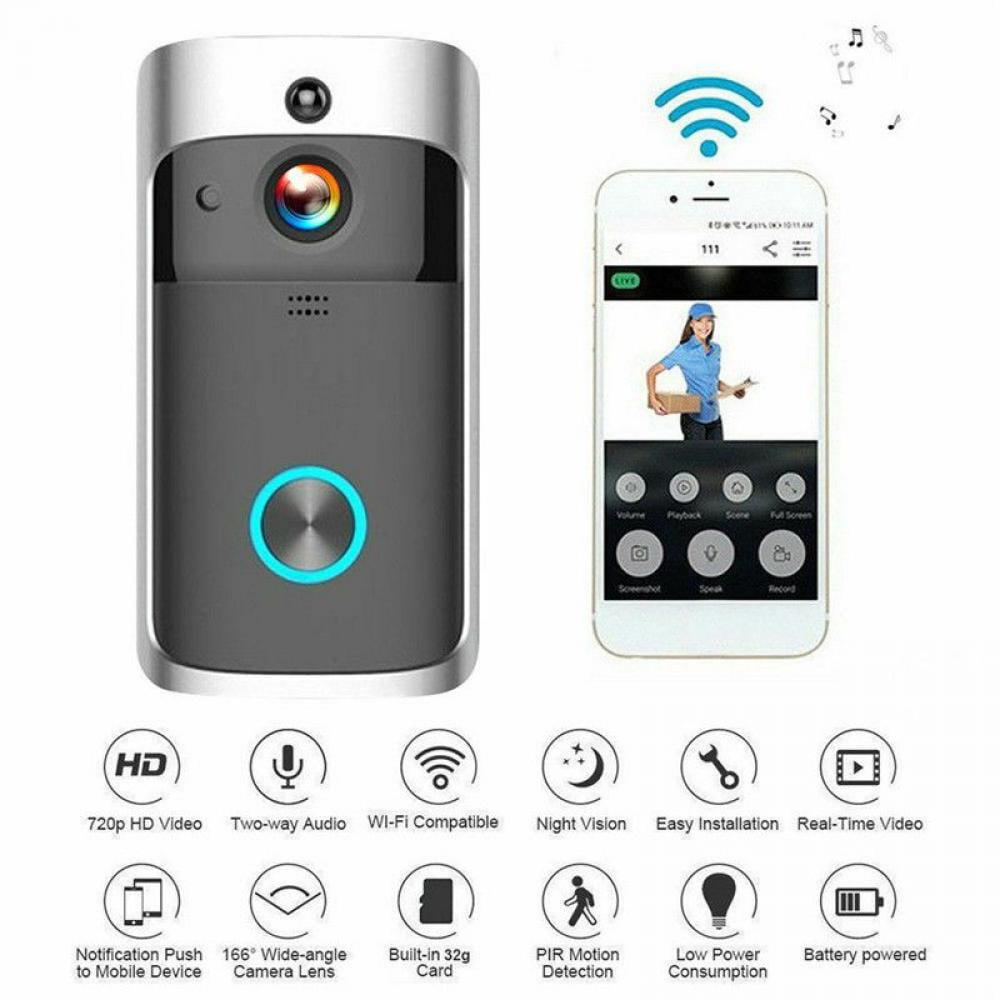 DINGDONG Door Bell WiFi IR Video Doorbell Talk Smart Intercom Security HD Camera