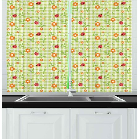 Floral Curtains 2 Panels Set, Flowers Ladybugs Leaves on Summer Striped Background Baby Cute Motif, Window Drapes for Living Room Bedroom, 55W X 39L Inches, Red Orange Lime Green, by - Striped Ladybug