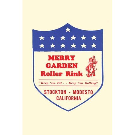 Stickers were issued by roller rinks across the United States  Many were stock designs imprinted with the local skating facility  This was for the Merry Garden Roller Rink in Stockton and Modesto Cali (Party City In Modesto)