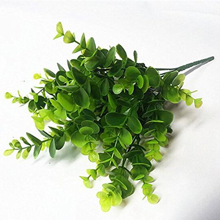 LoveU Shrub Artificial Shrubs, Fake Plastic Greenery Plants Eucalyptus Leaves Bushes Flowers Faux Plastic Leafy Green Imitation Boxwood Plants Indoor Outside Home Garden Office Verandah Decor, 4pc ()