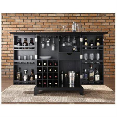 Crosley Newport Expandable Bar Cabinet In Black