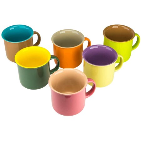 Yedi YCC758, 20 Oz Fine Porcelain Siena Collection Mugs, Large Ceramic Cups, Assorted Colors Bone China Mugs, Set of 6 Fine Bone China Cup