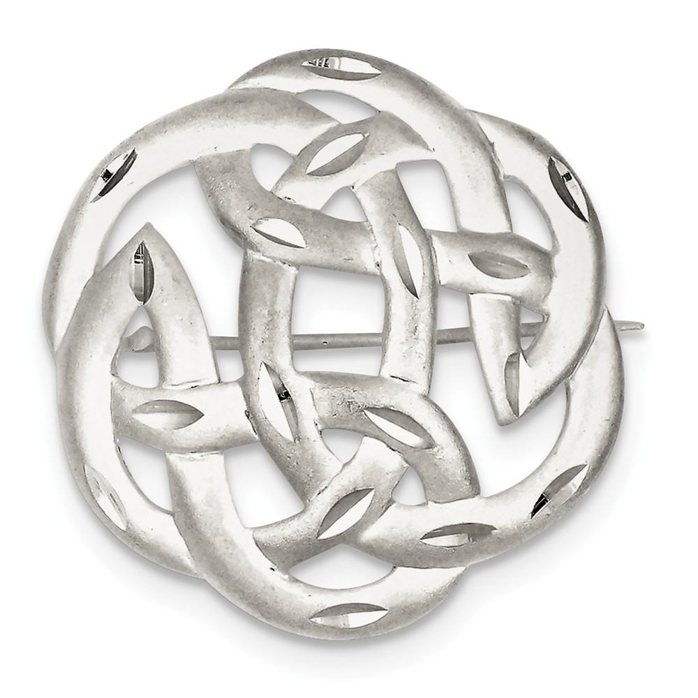 925 Sterling Silver Satin Finish Diamond Cut Celtic Knot Pin by IceCarats