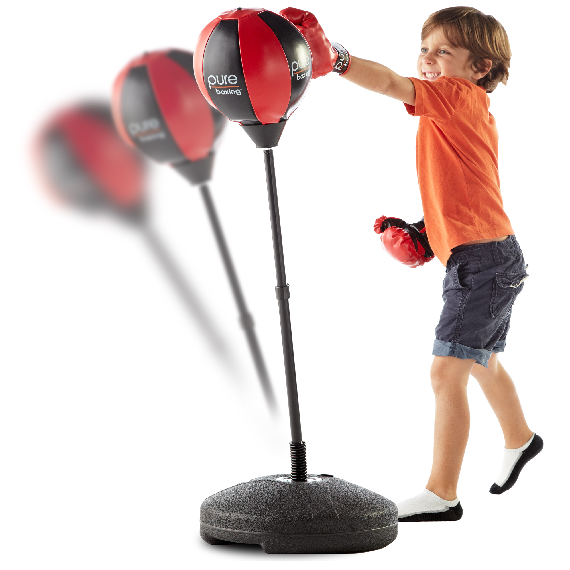 Pure Boxing Punch & Play Punching Bag for Kids - Red
