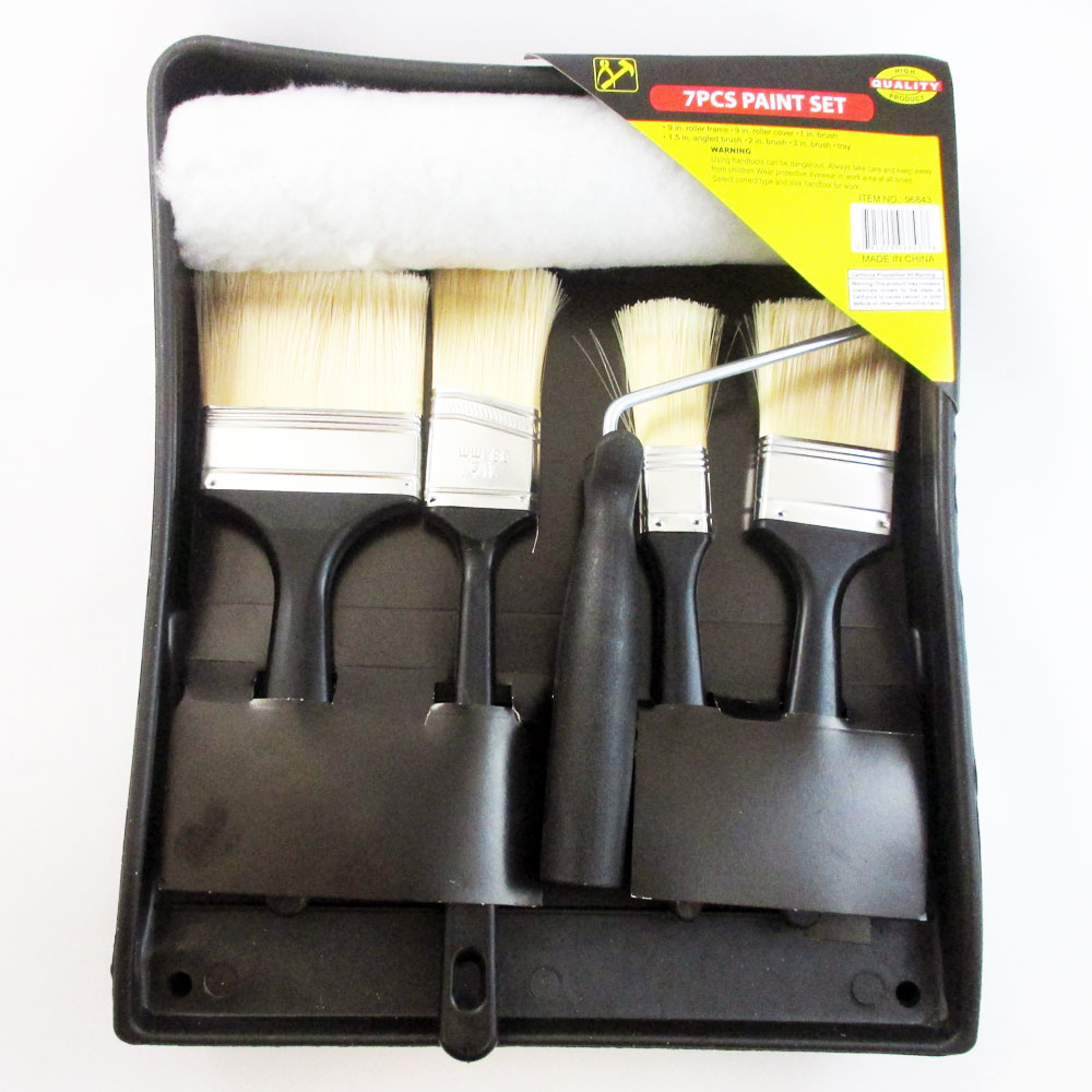 7 Pc Professional Brush Roller Paint Pan Liner Tray Coating Painting Art Kit Set