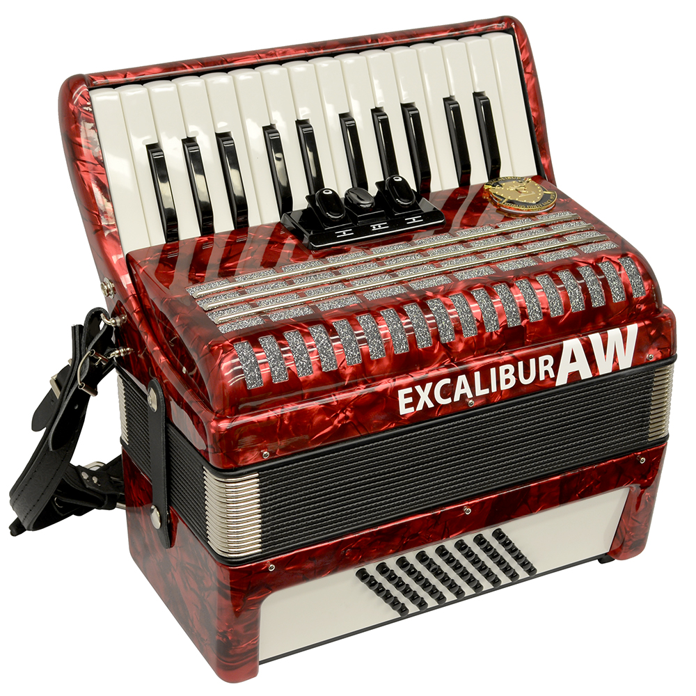 Excalibur Akordeon Werks (AW) 48 Bass Piano Accordion Pearl Red by