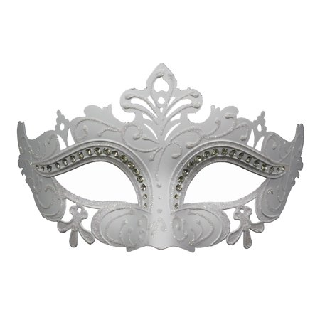 ELEGANT WHITE VENETIAN MASK - Costume - - Masquerade Masks On A Stick Cheap