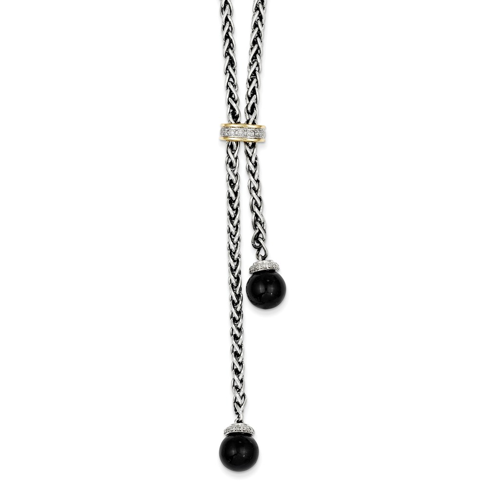 SS 14K Gold 9mm Onyx Diamond Lariat 18in Vintage Style Necklace 9.96ct