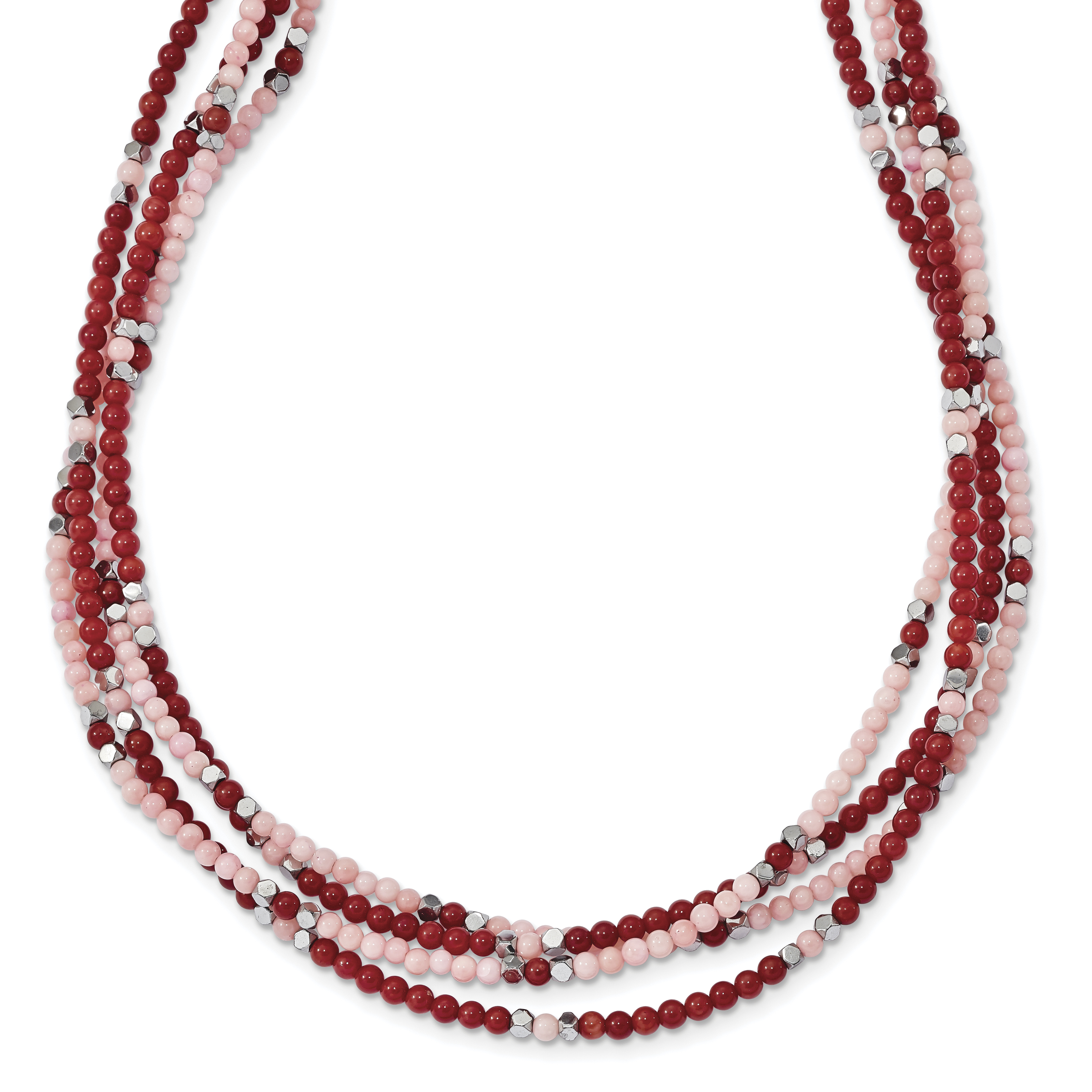 Sterling Silver Hematite Red & Peach Coral 3-Strand w 2in ext. Necklace by Core Silver